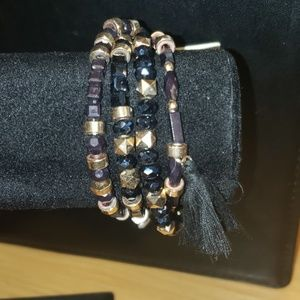 Pannee Wrap Tassle Braclet  black and gold